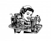 Retro Diner Waitress - Retro Clip Art