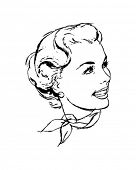 Woman With Scarf - Retro Clip Art