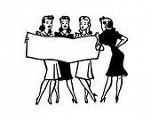 Singing Quartet - Retro Clip Art