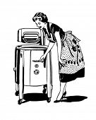 Mom Does The Washing - Retro Clip Art