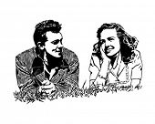 Summer Of Love - Couple On Their First Date - Retro Clip Art