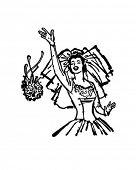 Bride Throwing Bouquet - Retro Clip Art