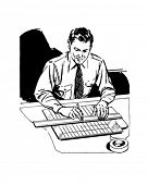 Draftsman At Work - Retro Clip Art