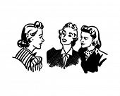 Three Gals Chatting - Retro Clip Art