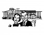 Happy Homeowners - Retro Clip Art