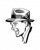 Homem usando Fedora - Retro Clip-Art