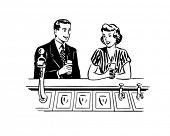 A Date At The Soda Fountain - Retro Clip Art