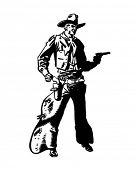 Cowboy Drawing Pistol - Retro Clip Art