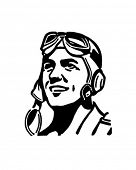 Pilot With Aviator Helmet - Retro Clip Art