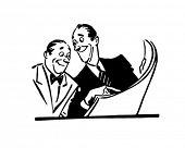 Two Men Reading Newspaper - Retro Clip Art