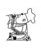 Chef Testing Noodles - Retro Clip Art