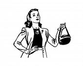 Lady With Handbag - Retro Clip Art