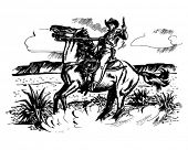 Cowboy On Horseback - Retro Clip Art