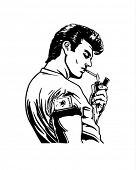 stock photo of mobsters  - Greaser Lighting Cigarette  - JPG