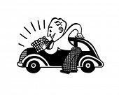 Homem polimento carro - Retro Clip-Art