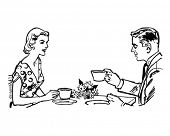Couple Having Tea - Retro Clip Art