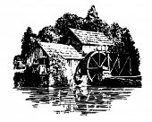 Grist Mill - Retro Clip Art