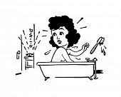 Indisposed - Woman In Bathtub - Retro Clip Art