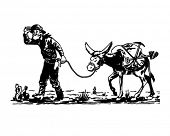 Prospector With Donkey - Retro Clip Art