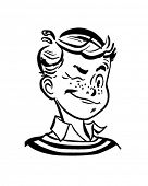 Winking Boy - Retro Clip Art