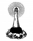 Lighthouse - Retro Clipart Illustration