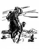 Sheriff On Horse - Retro Clipart Illustration