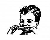 Junge Mundharmonikaspielen - Retro Clipart Illustration