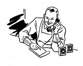 Grocer Taking Phone Order - Retro Clipart Illustration