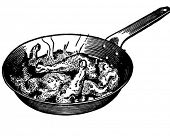 Chicken In Frying Pan - Retro Clipart Illustration