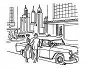 Постер, плакат: Служба такси Нью Йорка ретро клипарт иллюстрация