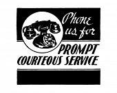 Phone Us For Courteous Service - Retro Ad Art Banner