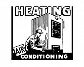 Heating Air Conditioning - Retro Ad Art Banner