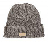 gray warm woolen knitted winter hat