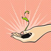 Illustration of a green sprout in a hand