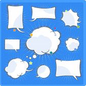 Comics speech and thinking bubbles set
