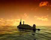Submarine on a surface of the sea