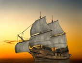 image of pirate ship  - The ancient ship in the sea - JPG
