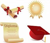 image of graduation cap  - set of icons for graduation a cap a diploma a degree - JPG
