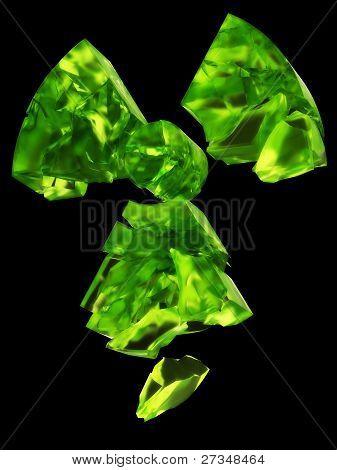 poster of radioactivity symbol uranium glass