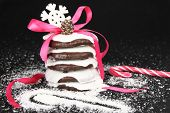 Lebkuchen gift on black background