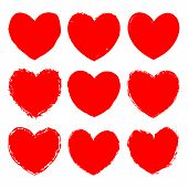 Vector Set Of Red Grunge Art Hearts. Ink Rough Texture. poster
