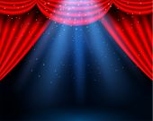 Red Curtains Partires Theater Scene. Theater Stage, Festival And Celebration Background. Glowing Sta poster