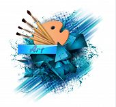 Drawing Tools Cartoon Elements Colorful Vector Concept. Art Supplies: Palette, Brushes, Watercolor B poster