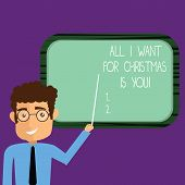 Conceptual Hand Writing Showing All I Want For Christmas Is You. Business Photo Showcasing Holiday C poster