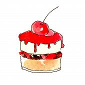 Cake, Dessert, Chocolate And Pastry, Dessert With Fruit. The Object Is Isolated On A White Backgroun poster