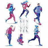 Set Of People, Men And Women, Running In Winter Season, Flat Cartoon Vector Illustration Isolated On poster