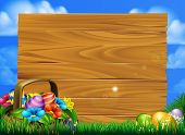 Cartoon Easter Eggs Basket Sign Scene With A Basket Of Chocolate Easter Eggs In A Field With A Big W poster