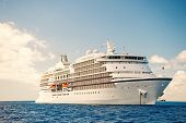 Cruise Ship. Large Luxury White Cruise Ship Liner On Sea Water And Cloudy Sky Background. Ship. Luxu poster
