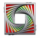 Square Abstract Design With Red, Yellow And Green