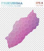 Itsukushima Polygonal Map, Mosaic Style Island. Tempting Low Poly Style, Modern Design. Itsukushima poster